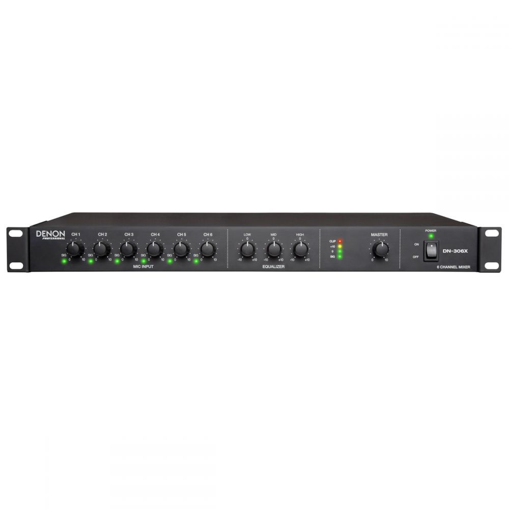 Denon Pro - DN-306X - 6-Channel Mixer  3-Band EQ and Chan 1 Priority