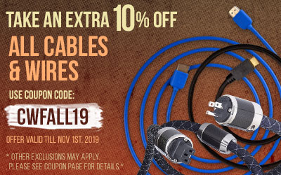 Take 10% off All Cables and Wires! Use coupon code CWFALL19 at checkout!
