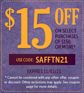 Take $15 off all purchases of $150 or more! Use code: SAFFTN21 on checkout.
