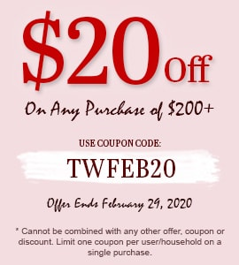 Take $20 off all purchases of $200 or more! Use code: TWFEB20 on checkout.