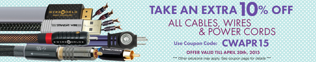 Take an extra 10% All Cables, Wires & Power Cords! Use Coupon Code CWAPR15 at checkout!