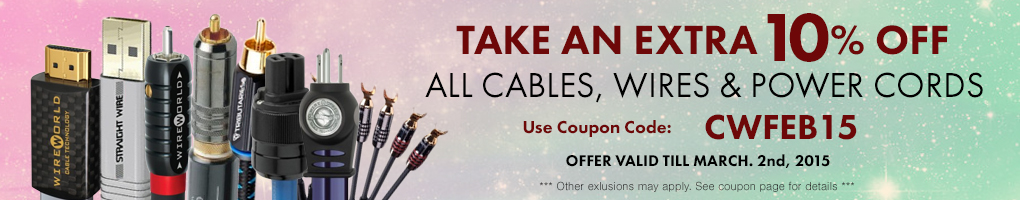 Take an extra 10% All Cables, Wires & Power Cords! Use Coupon Code CWFEB15 at checkout!