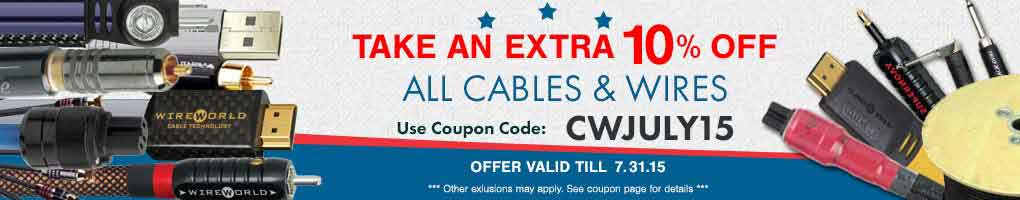 Take an extra 10% All Cables, Wires & Power Cords! Use Coupon Code CWJULY15 at checkout!