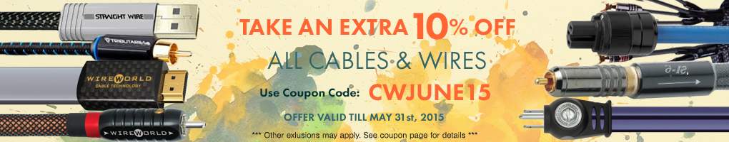 Take an extra 10% All Cables, Wires & Power Cords! Use Coupon Code CWJUNE15 at checkout!