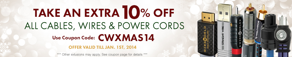 Take an extra 10% All Cables, Wires & Power Cords! Use Coupon Code CWTGIVE14 at checkout!