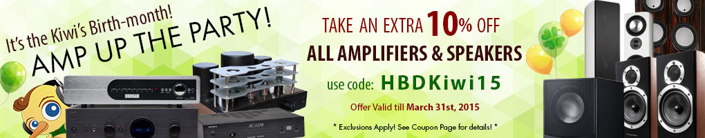 Take 10% off All Amplifiers and Speakers! Use Coupon Code HBDKiwi15 at checkout!