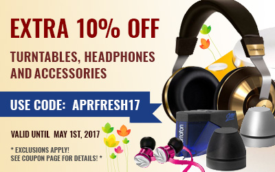 Take 10% off Turntables, Headphones and Accessories! Use code: APRFRESH17 at checkout!