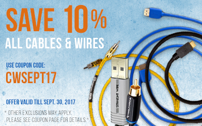 Take 10% off All Cables and Wires! Use coupon code CWSEPT17 at checkout!