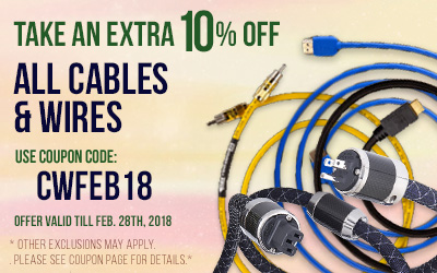 Take 10% off All Cables and Wires! Use coupon code CWFEB18 at checkout!