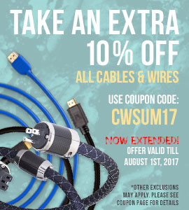 10% off all Cables and Wires! Use coupon code: CWSUM17 at checkout!