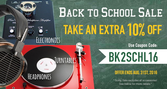 Back to School Sale! Take an extra 10% off All Electronics, Turntables and Headphones. Use coupon code: BK2SCHL16 at checkout.