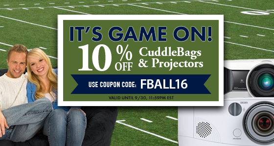 It's Game On! Take an extra 10% off All Cuddle Bags and Projectors. Use coupon code: FBALL16 at checkout.